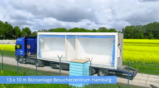 13 x 10 m Büroanlage Besucherzentrum Hamburg - Langversion